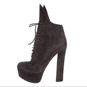 ALAIA Suede Lace Up Chunky Platform Ankle Boots